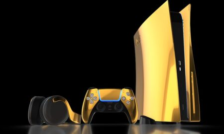 24K gold-plated customized PS5 The price is over 11000 USD and it is limited to 250 pieces worldwide